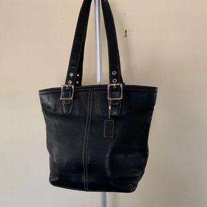 Coach leather black tote